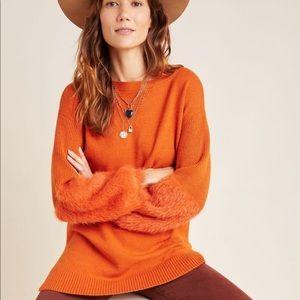 Anthropologie burnt orange Colma tunic sweater XS